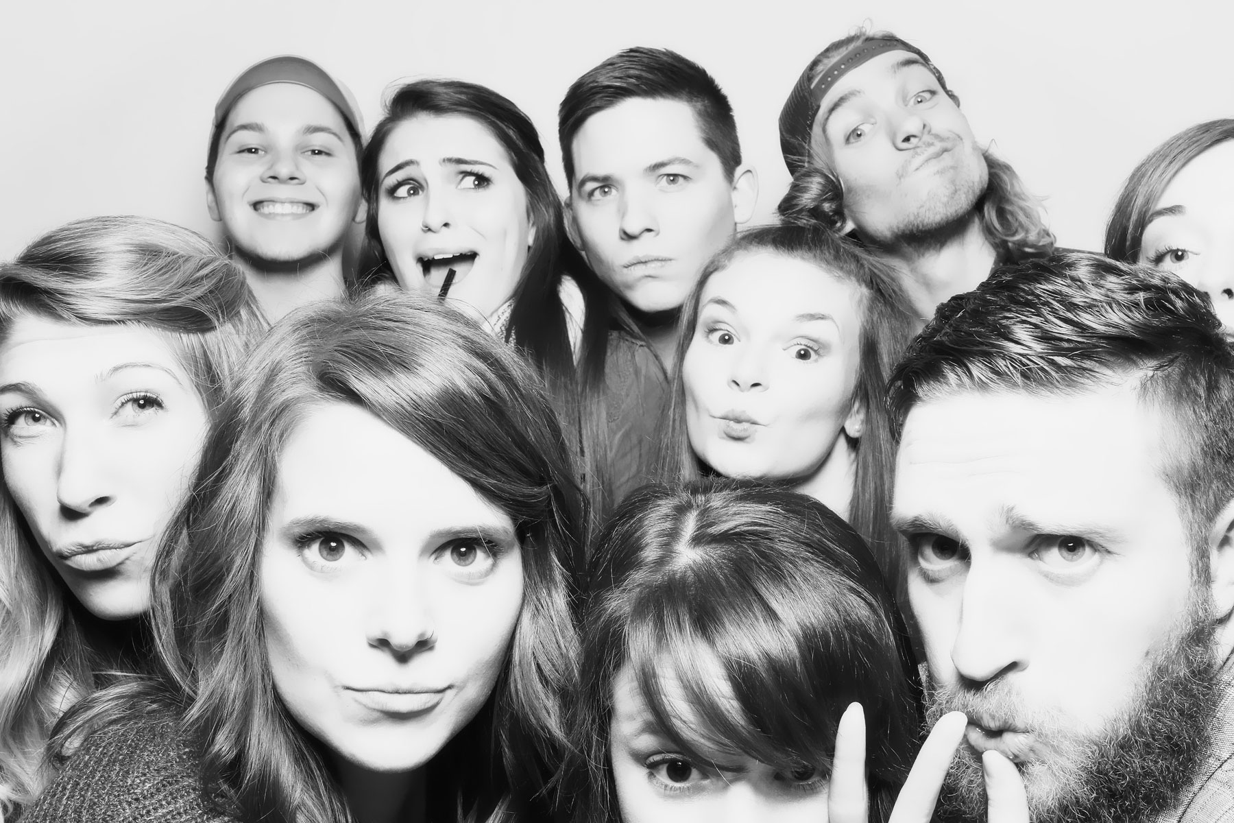 glam black and white group photo booth